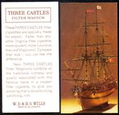 Three Castles Sailing Ship Model advertisement card View from Bows Printing Bii back Three Castles Filter Magnum 1965