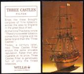 Three Castles Sailing Ship Model advertisement card View from Bows Printing Bi back Three Castles Filter 1965