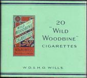 Wild Woodbine (Plain green background with orange scroll package design on right) empty 20s cigarette packet c1940