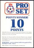 Advertisement Card Football League Points Winner 10 Points 1992