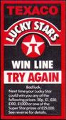 Advert Card issued with Cricket Series Texaco LUCKY Stars Win Line Try Again 1984