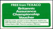 Advert Card issued with Cricket Series Free from Texaco Britannic Assurance 1984