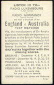 Cricket Fixture Card (Radio Luxembourg) 1936