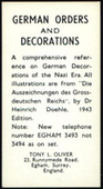 Advert Card for German Orders & Decorations 1963