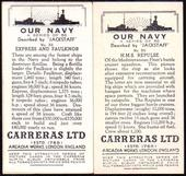 Our Navy (Thin Card) 1937 The error and corrected cards of number 35
